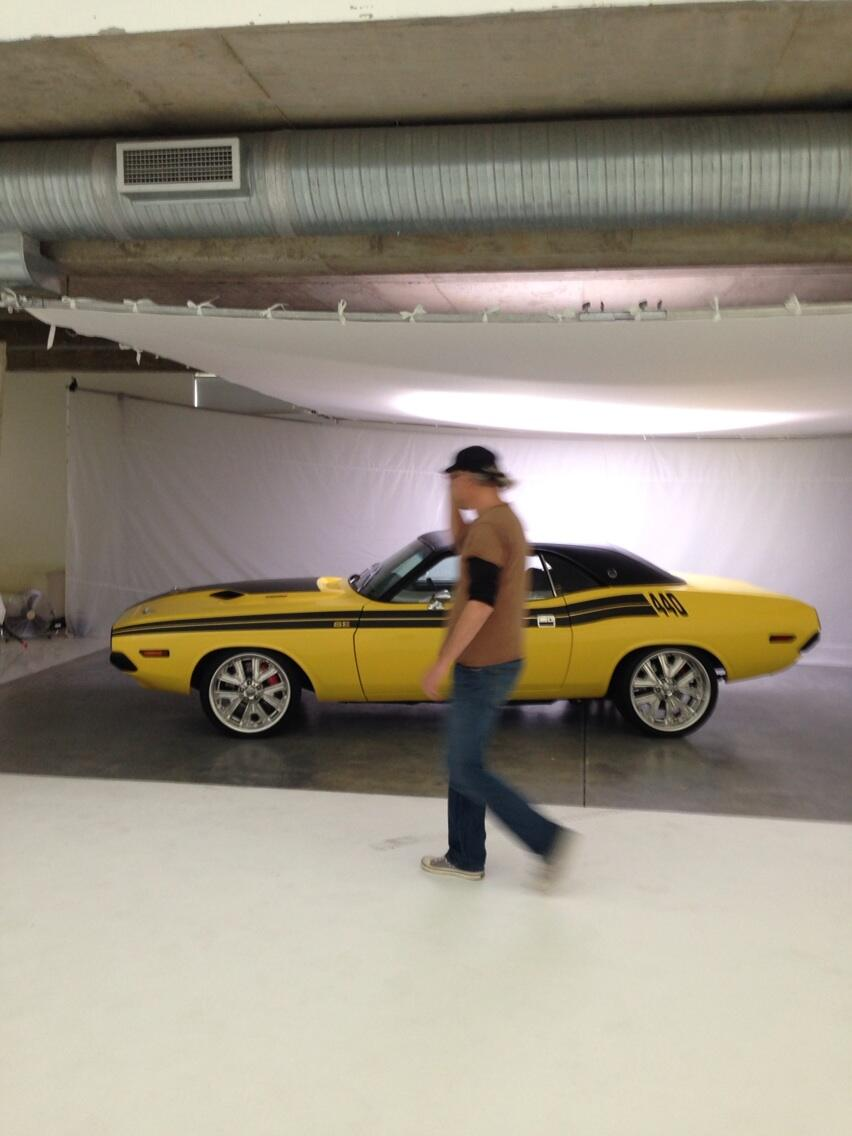 Jan Verboom setting up the shot of a Dodge Challenger