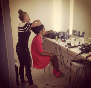 make-up room in the Drive-In photographic studio