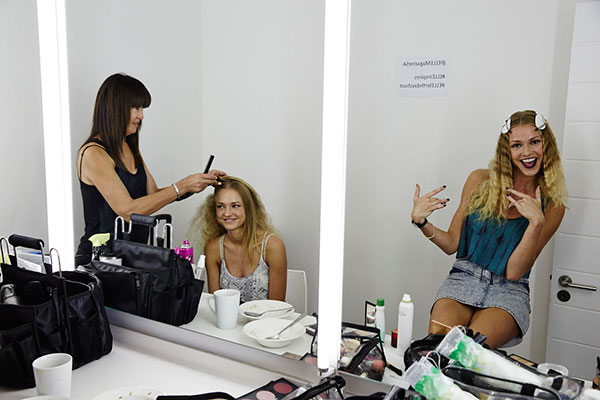 models in make-up for an Elle Fashion shoot in the Drive-In Studio