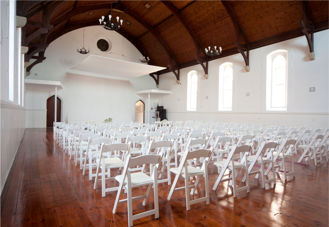 Wedding setup in the Chruch at Roodebloem Studios